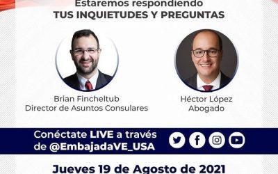 La Embajada de Venezuela en los Estados Unidos realizará un LIVE sobre el TPS.