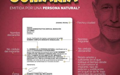 Migración Colombia publica como debe ser la Prueba Sumaria emitida por una persona Natural para el registro en el RUMV